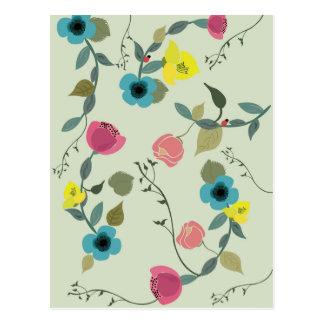 Postal Estampados de flores diseñados asiáticos