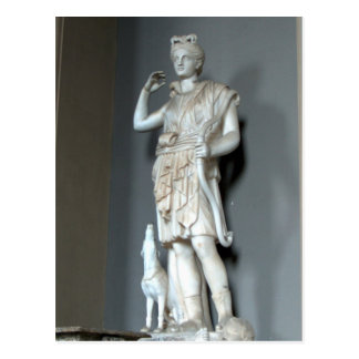 Postal Estatua de Diana (Artemis) en el Vatican en Roma