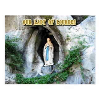 Postal Estatua de nuestra señora de Lourdes, Lourdes,