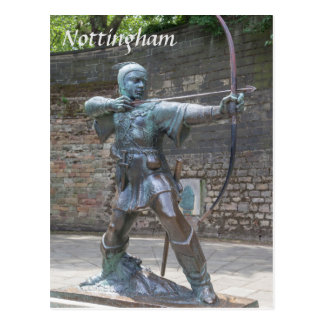 Postal Estatua de Robin Hood por la foto del castillo de