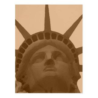 Postal Estatua del tono de la sepia del vintage de la