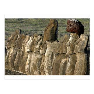 Postal Estatuas Rapa Nui (isla de Moai de pascua)