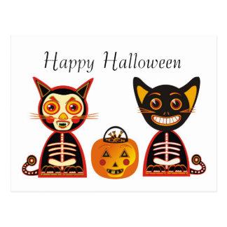 Postal Estilo del vintage del feliz Halloween