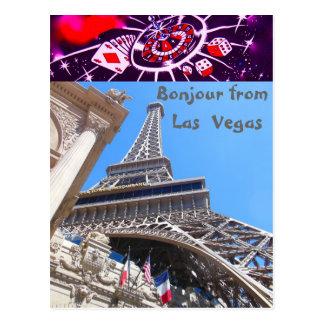 Postal Estilo francés de Las Vegas de los saludos