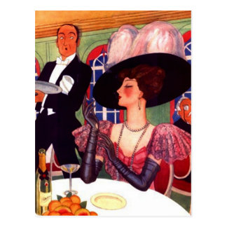Postal Estilo retro de Edwardian del vintage de las modas