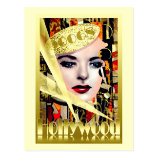Postal Estilo retro del vintage de Hollywood