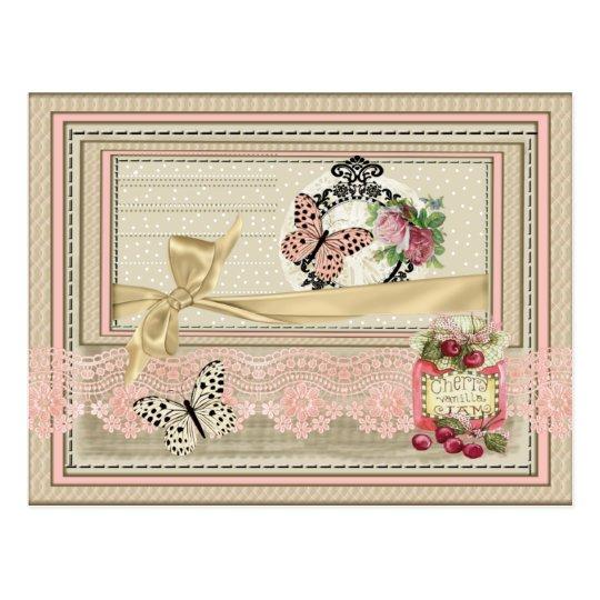 Postal estilo scrapbooking encaje mariposa cerezas