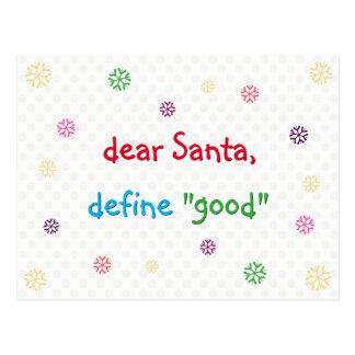 Postal Estimado Santa divertido define buen navidad del