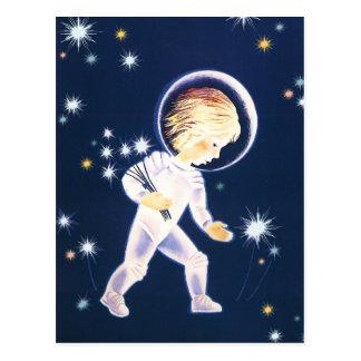 Postal Estrellas de cogida del astronauta del niño