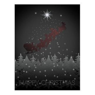 Postal Estrellas del reno de Santa del cielo nocturno de