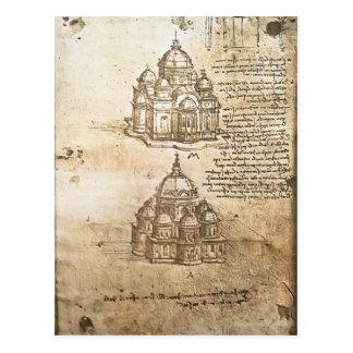 Postal Estudios de Leonardo Vinci- de los edificios