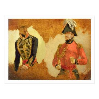 Postal Estudios del uniforme real de la artillería del