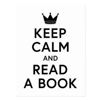 Postal Estudioso guarde la calma y lea un libro
