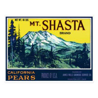 Postal Etiqueta de las peras del Mt Shasta California del