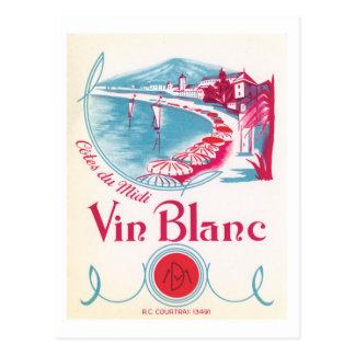 Postal Etiqueta del vintage del vino de Vin Blanc