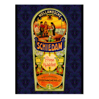 Postal Etiqueta del whisky de la ginebra de SCHIEDAM de
