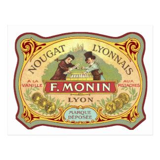 Postal Etiqueta francesa del caramelo del vintage