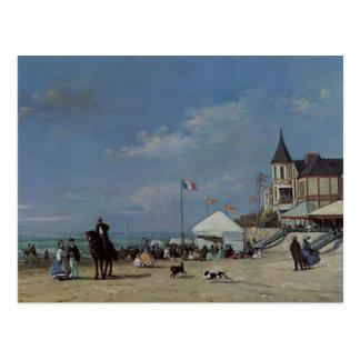 Postal Eugene Boudin- la playa en Trouville