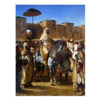 Postal Eugene Delacroix- el sultán de irse de Marruecos
