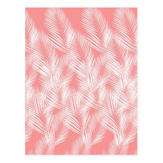 Postal Exotico del blanco del rosa de las palmas del