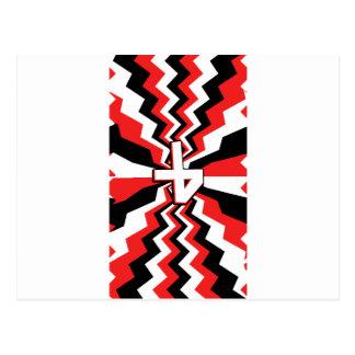 Postal Explosión roja, negra, y blanca del zigzag impresa
