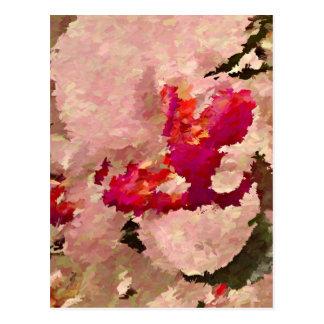 Postal Extracto rojo y blanco de la orquídea