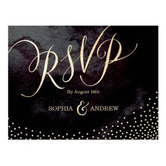 Postal Falsa caligrafía negra atractiva RSVP del brillo