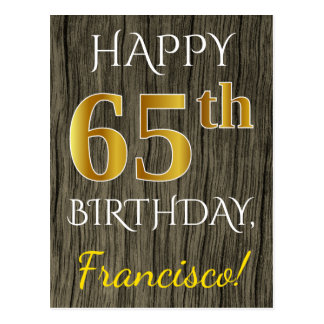 Postal Falsa madera, 65.o cumpleaños del falso oro +