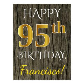 Postal Falsa madera, 95.o cumpleaños del falso oro +