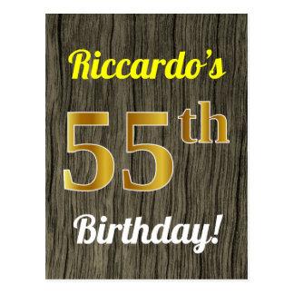 Postal Falsa madera, cumpleaños del falso oro 55.o y