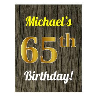 Postal Falsa madera, cumpleaños del falso oro 65.o y