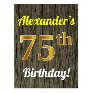 Postal Falsa madera, cumpleaños del falso oro 75.o y