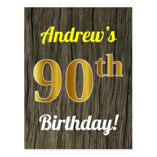 Postal Falsa madera, cumpleaños del falso oro 90.o y