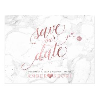Postal Falso oro color de rosa/mármol/reserva de