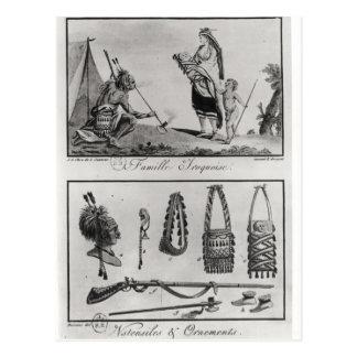 Postal Familia, brazos y ornamentos Iroquois