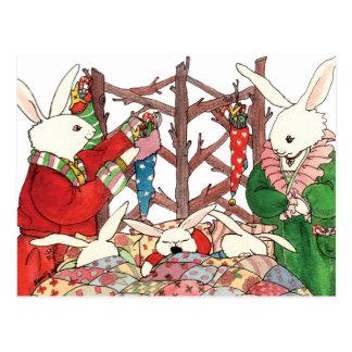 Postal Familia del conejito del navidad
