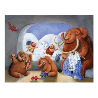 Postal Familia del mamut lanoso en edad de hielo