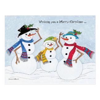 Postal Familia del muñeco de nieve de las Felices Navidad
