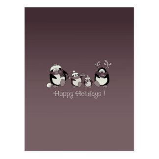 Postal Familia del pingüino