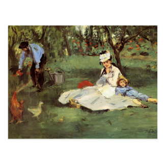 Postal Familia francesa impresionista de Manet en jardín