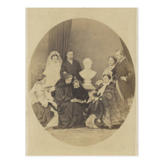 Postal Familia real en el luto sobre el Príncipe Alberto