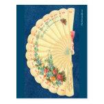 Postal Fan floral del navidad del Victorian