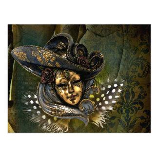 Postal Fantasía veneciana de la máscara