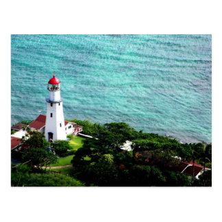 Postal Faro de Hawaii por el océano