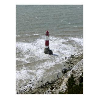 Postal Faro de la cabeza con playas, Sussex del este