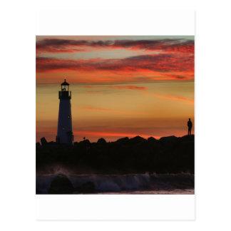 Postal Faro de Santa Cruz de la puesta del sol