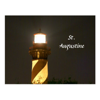 Postal Faro de St Augustine en la noche