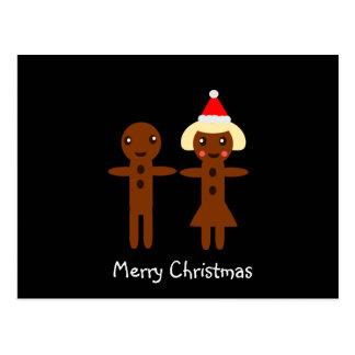 Postal Felices Navidad 2 del hombre de pan de jengibre y