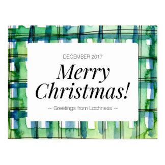 Postal Felices Navidad de la tela escocesa verde de la