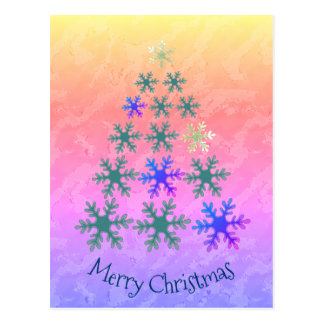 Postal Felices Navidad del árbol de navidad del copo de